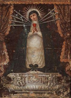 Anónimo español, Virgen de la Soledad de La Victoria-siete dolores, óleo sobre tela, sin medidas, ca. 1700, colección particular, catalogación: Juan Carlos Cancino.