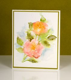 """scented roses Heather Telford  """"watercoloring"""" with Distress stains (apply stains directly to the stamp, then use a wet brush to soften any sharp edges or fill in as necessary."""