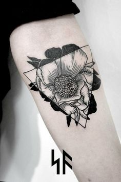 roma severov flower nature botanical geometric tattoo - Google Search