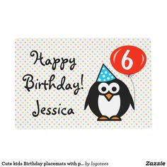 Cute kids Birthday placemats with penguin cartoon