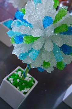 Rock candy topiary for a candy table