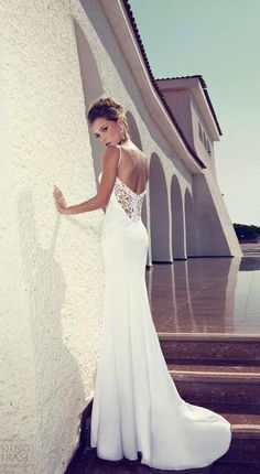 Julie Vino 2015 Summer Beach Wedding Dresses Sheath White Spaghetti Straps Lace Appliques Open Back New Long Sexy Bridal Gowns