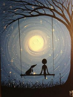 A fun image sharing community. Explore amazing art and photography and share your own visual inspiration! Art And Illustration, Ouvrages D'art, Pics Art, Dog Art, Painting Inspiration, Painting & Drawing, Moon Painting, Swing Painting, Moon Drawing