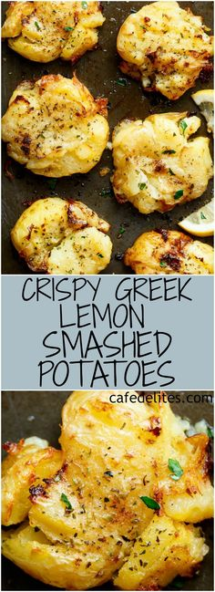 One of the best sides to accompany any meal are these Crispy Greek Lemon Smashed Potatoes! Crispy and golden on the outside, soft and fluffy on the inside! | https://cafedelites.com