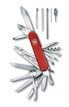 "Victorinox SwissChamp. The top model among the ""Officer's Knives"" combines 33 high quality tools."