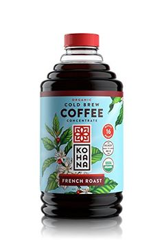 Kohana Cold Brew Coffee Concentrate Organic French Roast 32 Ounce Best Zero Calorie Low Acid Iced Coffee Instant Convenient and On The Go Makes 16 Drinks Single Bottle
