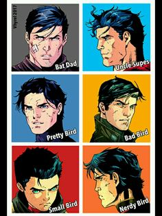 Batman, Superman, Dick Grayson, Jason Todd, Damian Wayan, Tim Drake