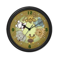 Jungle Safari Animals Wall Clock by Gift Depot. $23.99. Removable image insert. Lightweight black plastic frame/case. Decorate any room in your home or office with our 10 inch wall clock. Black plastic case. Requires 1 AA battery.