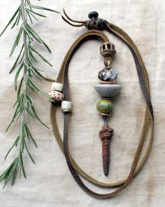 Primitive, Washer Necklace, Embellishments, Jewerly, Necklaces, Stone, Clay, Accessories, Ornaments