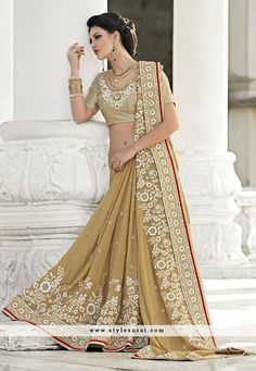 Beige Color Designer Wedding Wear Saree