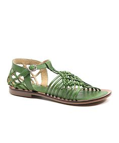 Look at this Diba Green Pie Per Leather Sandal on #zulily today!