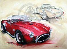 Auto Illustration, Car Prints, 427 Cobra, Carroll Shelby, Car Sketch, Car Drawings, Car Painting, Car Wallpapers, Mixed Media Canvas