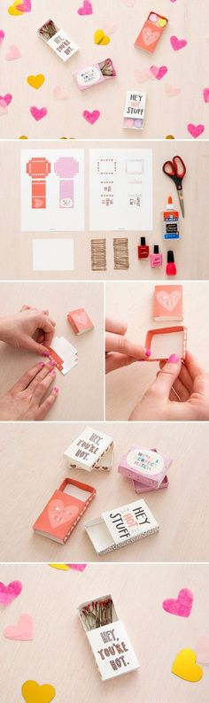 Learn how to make DIY Matchbox Valentines gift boxes with this fun tutorial and FREE PRINTABLES via Brit + Co