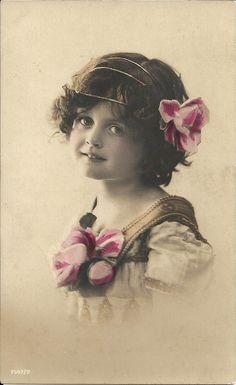 Romantic girl, 1910s fashion, gold headband, British child, antique photo, hand coloured, collectible photo  (rppc/ch70)