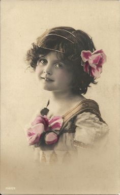 Romantic girl, 1910s fashion, gold headband, British child, antique photo, hand…