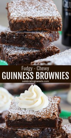 Fudgy and chewy brownies made with Guinness stout and Irish cream frosting. These rich brownies are perfect for celebrating St Patrick's Day! Easy Irish Recipes, Scottish Recipes, Sweet Recipes, French Recipes, Brownie Frosting, Cream Frosting, Chewy Brownies, Frosted Brownies, Easy Brownies