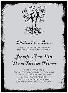 Halloween Invitations, Till Death Do Us Part, 26573  .. This is the theme and logo for the wedding