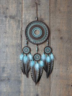 BLUE DOUBLE LOOP 18 INCH DREAMCATCHER real feathers chimes beads dream catcher