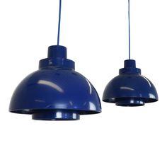 Set of two Blue Minisol pendant lights designed by K. Kewo for Nordisk Solar 1960s