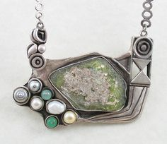Necklace | Judy Perlman. 'The Tide Pool'.  Ancient Roman glass, pearls, glass beads, sterling silver