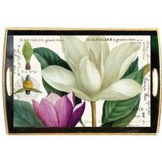 Michel Design Works Michel Design 20 by 13-3/4-Inch Works Decoupage Wooden Tray, Magnolia at Sears.com
