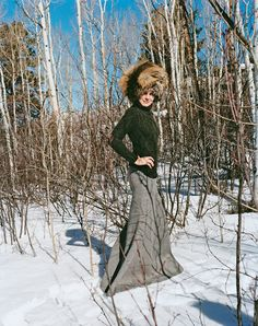 Aerin Lauder, in Olivier Theyskens and The Row fur cap, in the Aspen highlands near her vacation home.