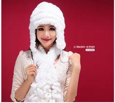 Top Fashion 2016 Women's Fur Cap Thermal Protector Ear Caps Rex Rabbit Hair Hat Dip Dyeing Casual Hats For Women