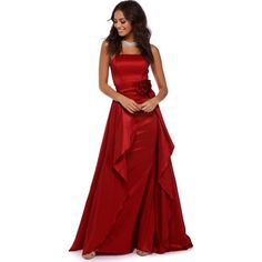 Arabelle Red Strapless Ball Gown (685 DKK) ❤ liked on Polyvore featuring dresses, gowns, strapless evening dresses, strapless cocktail dresses, strapless evening gown, red gown and red cocktail dress