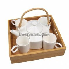 Ikea Style Porcelain Lifting Handle Teapot Set