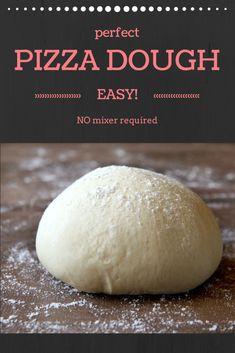 Pizza Dough Recipe No Mixer, Italian Pizza Dough Recipe, Easy Pizza Dough, Thermomix Pizza Dough, Deep Dish, Pain Pizza, Best Homemade Pizza, Good Pizza, Pizza Recipes