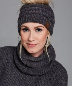 C.C® Dark Gray Speckle Knit Bun Beanie - Women  a3a6f84eb0f5