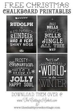Free Printable Christmas Chalkboard Art #FreePrintableChalkboards, #FreeChristmasChalkboard, #ChalkboardArtPrintableFree