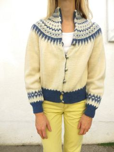 maker/brand = william schmidt co. Norwegian Knitting, Vintage Outfits, Vintage Clothing, Sweater Making, Vintage Knitting, Wool Cardigan, Sweater Weather, What To Wear, Pullover