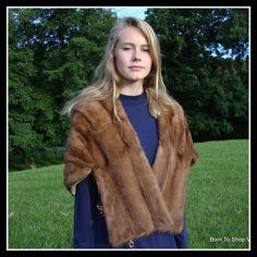 Vintage mink fur cape, brown mink  capelet, 1960s,  mink stole, shawl,   mink shrug,  mid century, mad men, glam, One size Sm to Ex Lg. by BornToShopVintage on Etsy