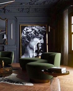25 Popular Classic Living Room Design 2019 - Home Design Dark Interiors, Hotel Interiors, Salon Art Deco, Green Interior Design, Classical Interior Design, Hotel Design Interior, Modern Classic Interior, Italian Interior Design, Country Interior