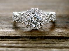 Forever One Moissanite Engagement Ring in White Gold with Diamonds in Flower Buds and Leafs on Vine Motif Size 6 - wedding details Oval Engagement, Diamond Engagement Rings, Diamond Rings, Matching Wedding Rings, Forever One Moissanite, Moissanite Diamonds, How To Make Earrings, Dream Ring, Natural Diamonds