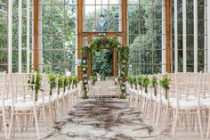 Getting married at the gorgeous Kew Gardens seems amazing enough as it is, and then the deal gets better when you realise you can have your romantic wedding service in this ceremony room. We can't think of a more stunning setting for two people to say their vows and enter into marriage than this spring-themed glasshouse.