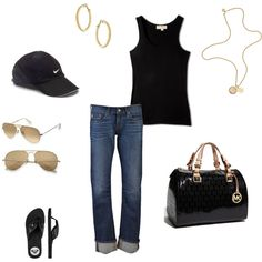"""""""Softball"""" by heather-markham-dombos on Polyvore. Substitute a fedora and sandals, and I would wear this.:)"""