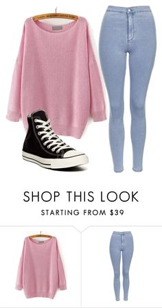 """Sin título #946"" by mariarivero-1 ❤ liked on Polyvore featuring Topshop and Converse"