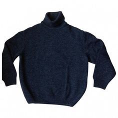 Blue Wool Knitwear Sweatshirt KENZO (£13) ❤ liked on Polyvore featuring tops, hoodies, sweatshirts, sweaters, jumpers, shirts, wool tops, blue sweatshirt, blue shirt and kenzo shirt