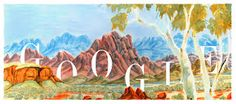 Celebrating Albert (Elea) Namatjira's Birthday Google Doodles, Medan, Google Anniversary, Sketches Of Love, Alice Springs, Birthday Dates, The Beautiful Country, Hand Art, Places Of Interest