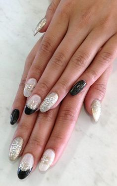 Stiletto gel full set with nail art. Nails by Megan Lee