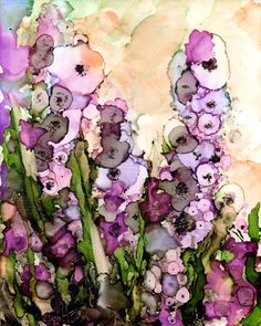 Foxglove Floral print of original alcohol ink by ArtWithSarah