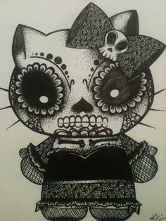 Original Day of the Dead Kitty I did for a girl I went to Esthetics School with.