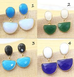 Sale ! D Shape Onyx,Chalcedony,Turquoise & Opalite  Gold Plated Earring Jewelry #Handmade #DropDangle