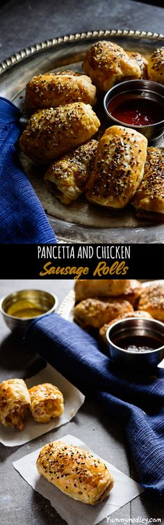 While traditional sausage rolls are made with ground pork, these chicken sausage rolls add a delicious pancetta twist that makes it perfect for celebrations Appetizers For Party, Appetizer Recipes, Snack Recipes, Nigerian Sausage Roll Recipe, Pork Recipes, Real Food Recipes, Yummy Snacks, Yummy Food, Delicious Recipes