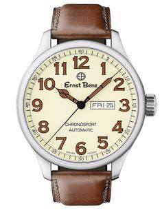 Ernst Benz Chronosport Parchment Dial Brown Leather Band Men's Automatic Watch Stylish Watches, Luxury Watches, Cool Watches, Casual Watches, Wrist Watches, Classic Leather, Brown Leather, Skeleton Watches, Silver Pocket Watch