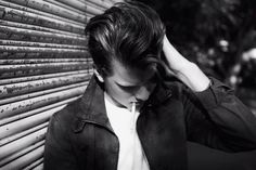 greaser style hair black and white portrait smoking james dean style portrait photography