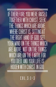If therefore you were raised together with Christ, seek the things which are above, where Christ is, sitting at the right hand of God. Set your mind on the things which are above, not on the things which are on the earth. For you died, and your life is hidden with Christ in God. (Col. 3:1-3) Recovery Version Bible, quoted at www.agodman.com