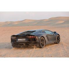 Lamborghini Aventador playing in the desert